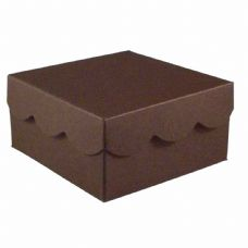 Brown Scalloped Lid Designer Favour Boxes